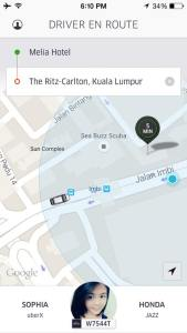 Uber ride to Ritz Carlton